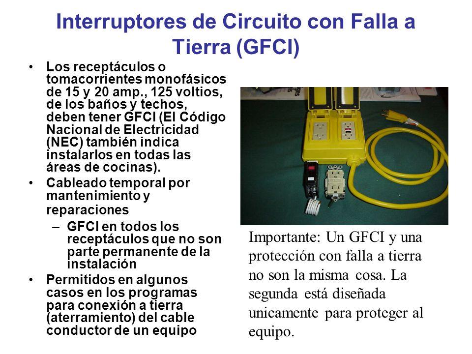 Interruptores de Circuito con Falla a Tierra (GFCI)