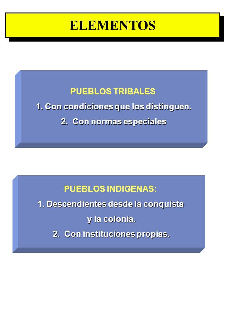 ELEMENTOS PUEBLOS TRIBALES 1. Con condiciones que los distinguen.