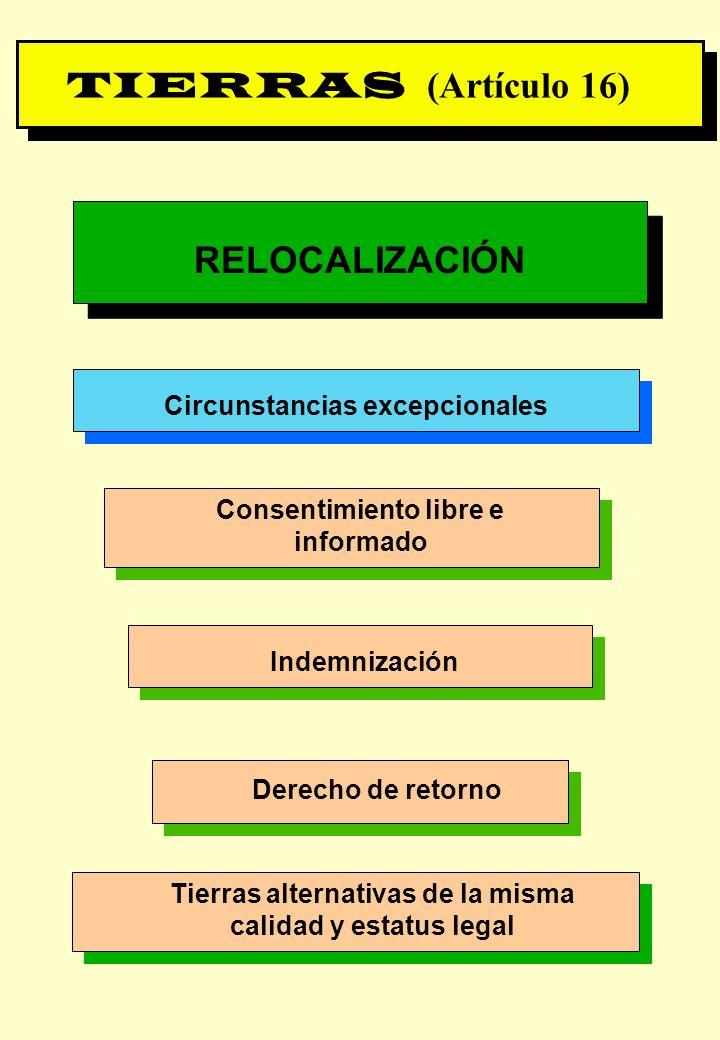 TIERRAS (Artículo 16) RELOCALIZACIÓN Circunstancias excepcionales