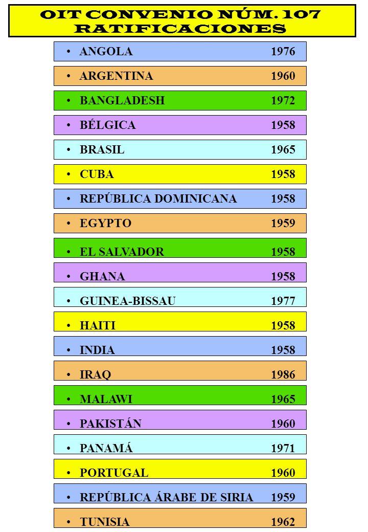OIT CONVENIO NÚM. 107 RATIFICACIONES