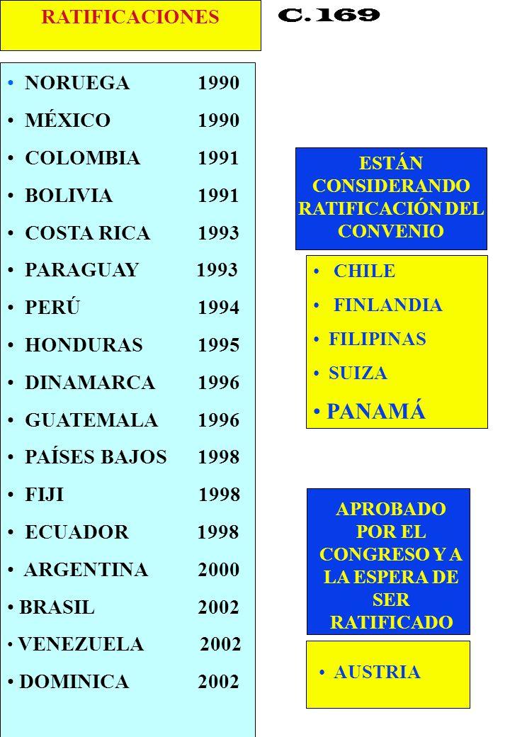 PANAMÁ RATIFICACIONES NORUEGA 1990 MÉXICO 1990 COLOMBIA 1991