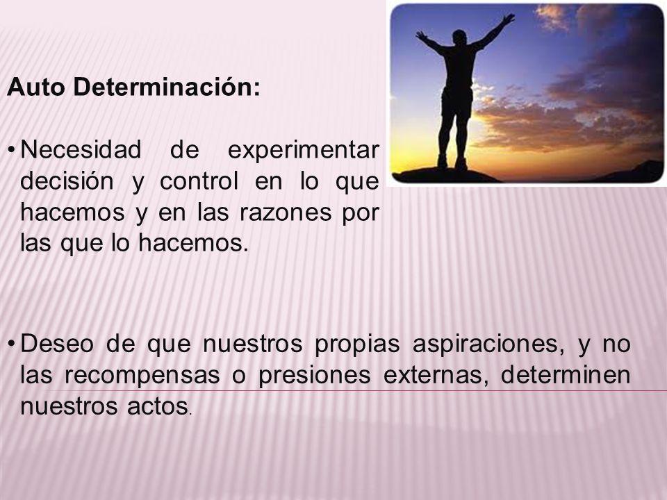 Auto Determinación: Necesidad de experimentar decisión y control en lo que hacemos y en las razones por las que lo hacemos.
