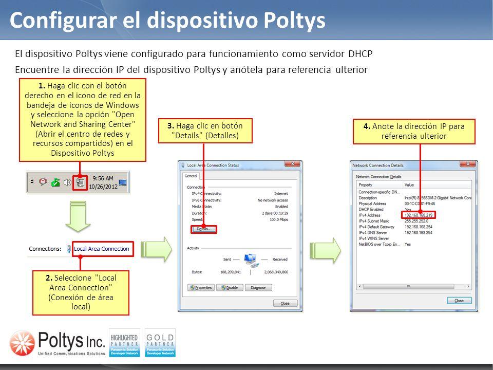 Configurar el dispositivo Poltys
