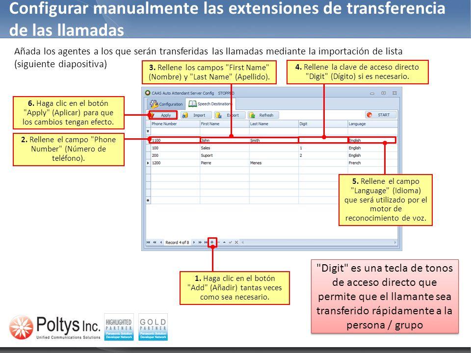 Configurar manualmente las extensiones de transferencia de las llamadas