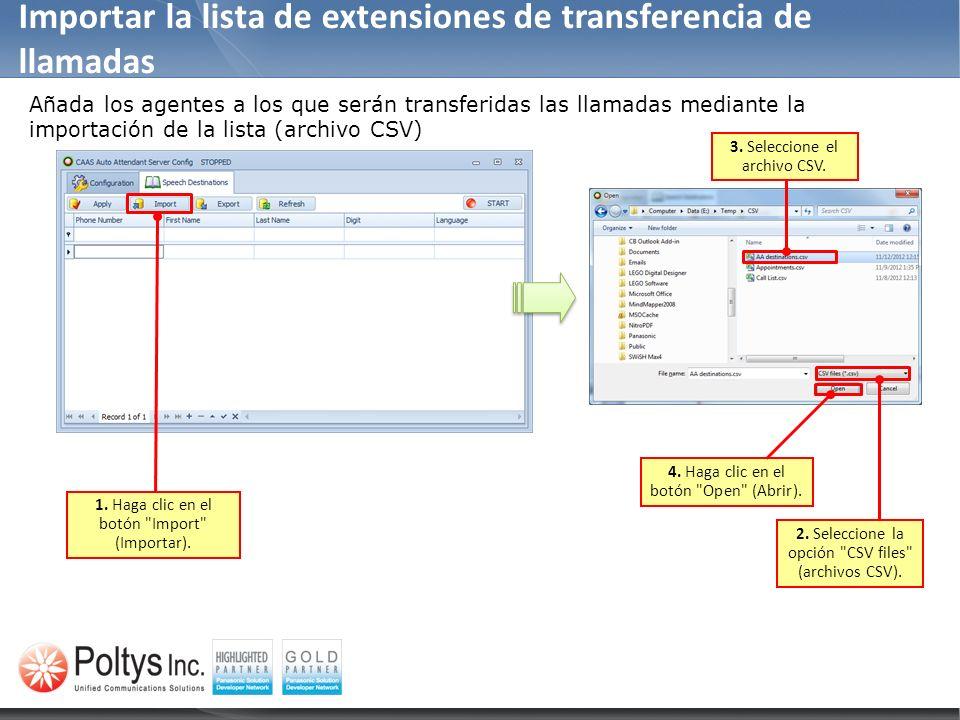 Importar la lista de extensiones de transferencia de llamadas