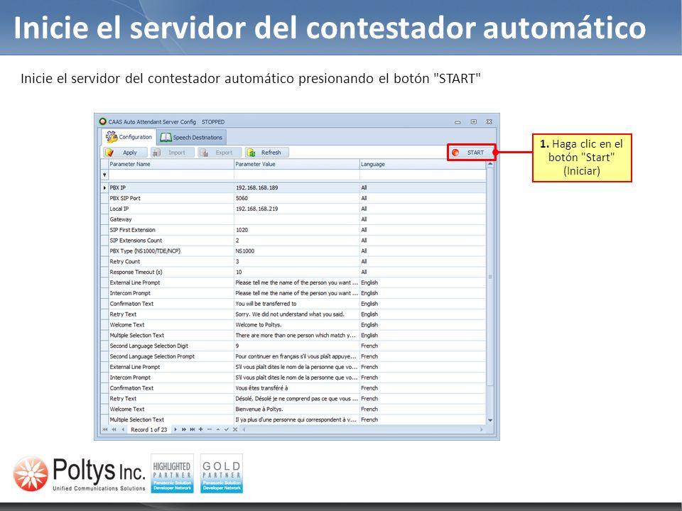 Inicie el servidor del contestador automático