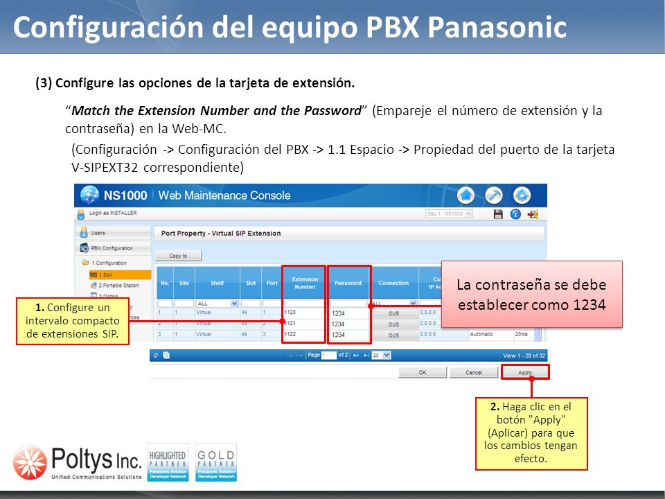 Configuración del equipo PBX Panasonic