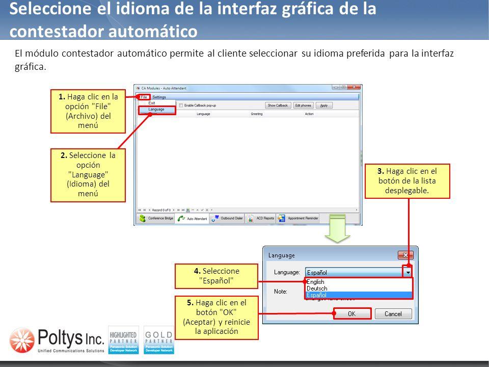 Seleccione el idioma de la interfaz gráfica de la contestador automático