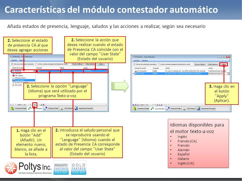 Características del módulo contestador automático