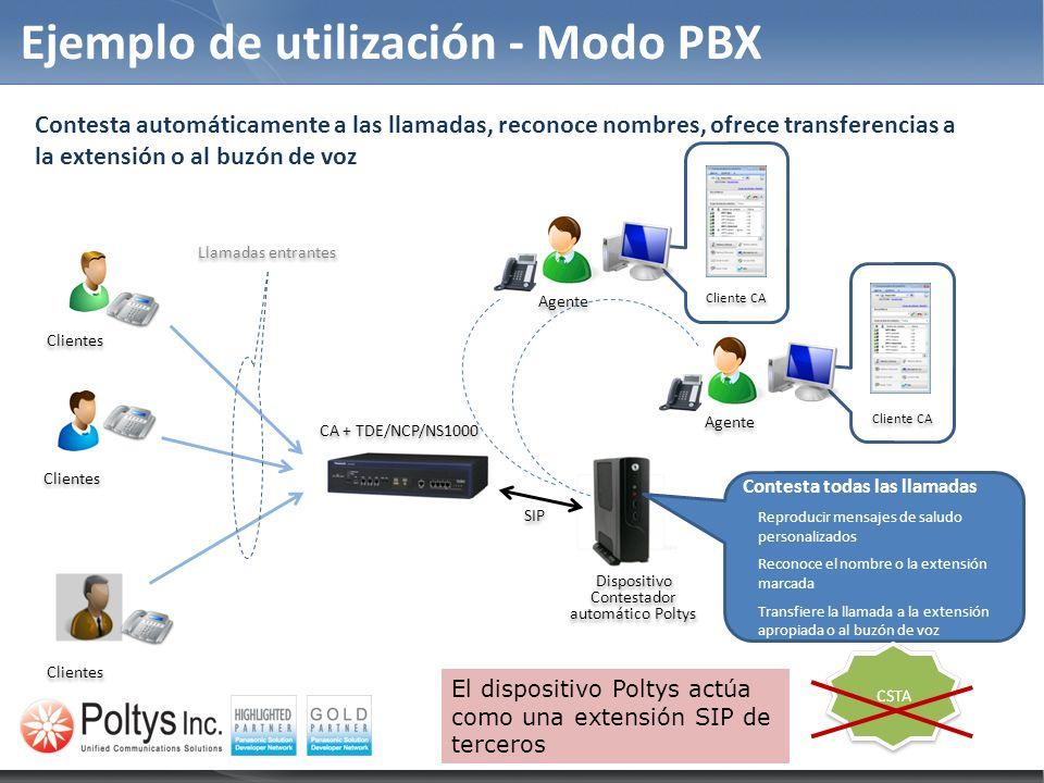 Ejemplo de utilización - Modo PBX