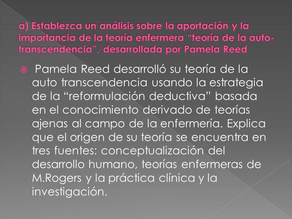 a) Establezca un análisis sobre la aportación y la importancia de la teoría enfermera teoría de la auto-transcendencia , desarrollada por Pamela Reed