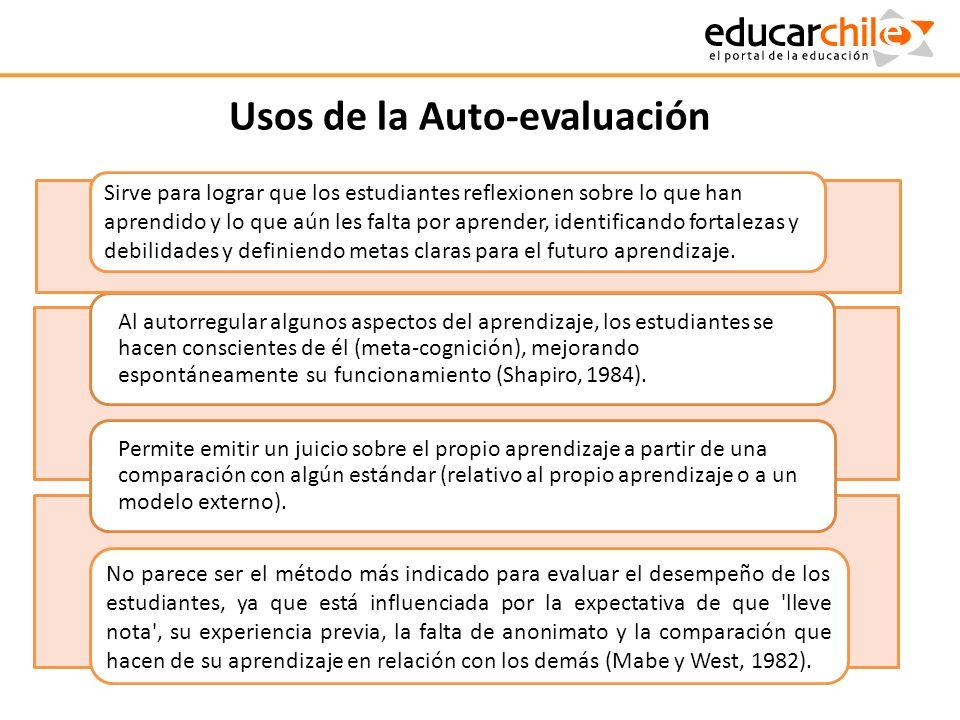 Usos de la Auto-evaluación