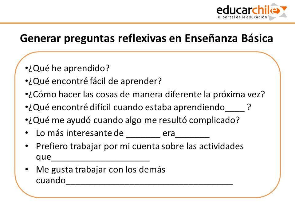 Generar preguntas reflexivas en Enseñanza Básica