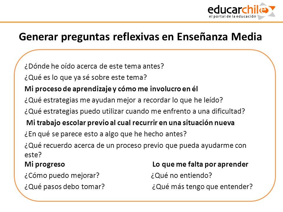 Generar preguntas reflexivas en Enseñanza Media