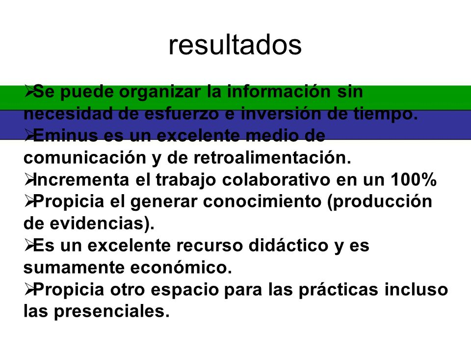 resultados Se puede organizar la información sin necesidad de esfuerzo e inversión de tiempo.