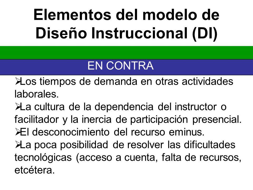 Elementos del modelo de Diseño Instruccional (DI)