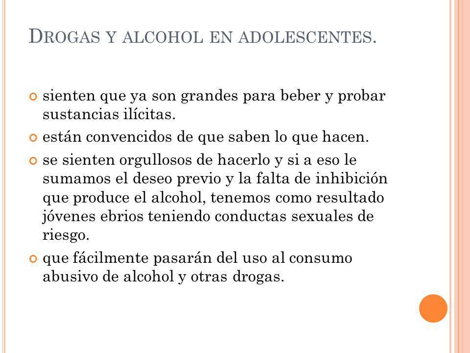 Drogas y alcohol en adolescentes.