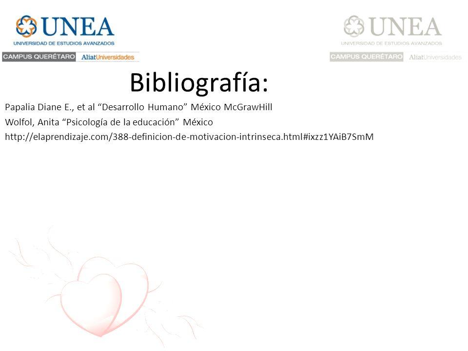 Bibliografía: Papalia Diane E., et al Desarrollo Humano México McGrawHill. Wolfol, Anita Psicología de la educación México.