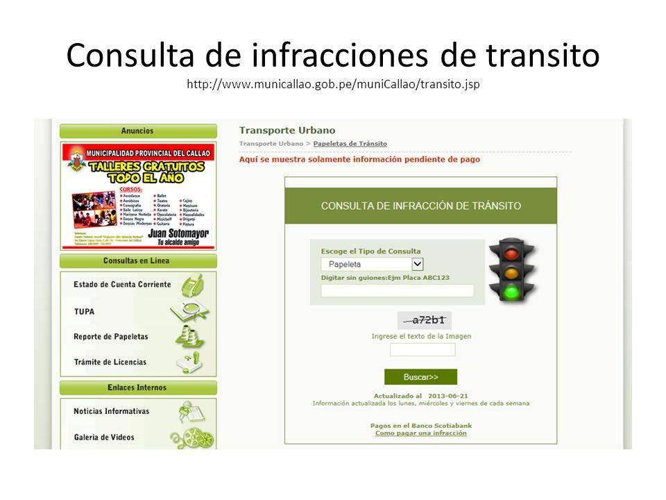 Consulta de infracciones de transito http://www. municallao. gob