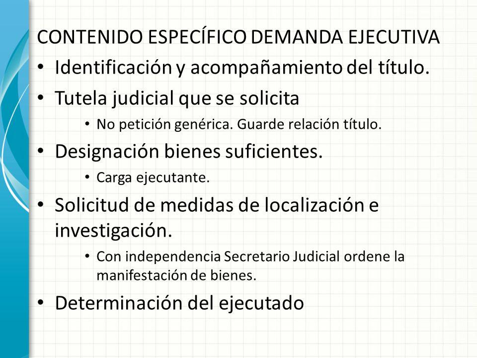 CONTENIDO ESPECÍFICO DEMANDA EJECUTIVA