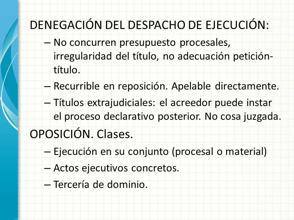 DENEGACIÓN DEL DESPACHO DE EJECUCIÓN: