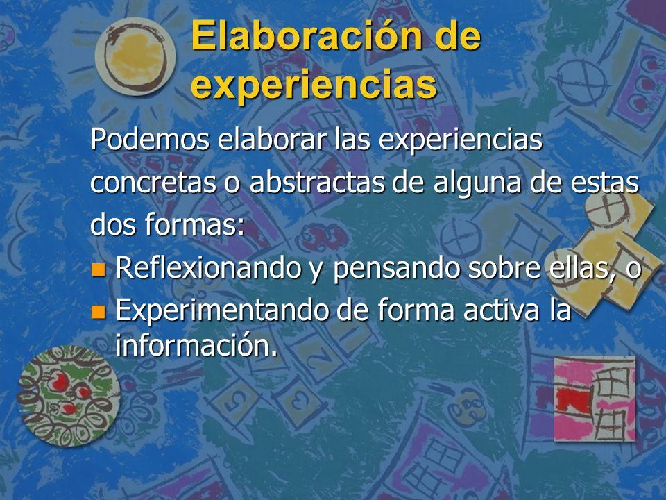Elaboración de experiencias