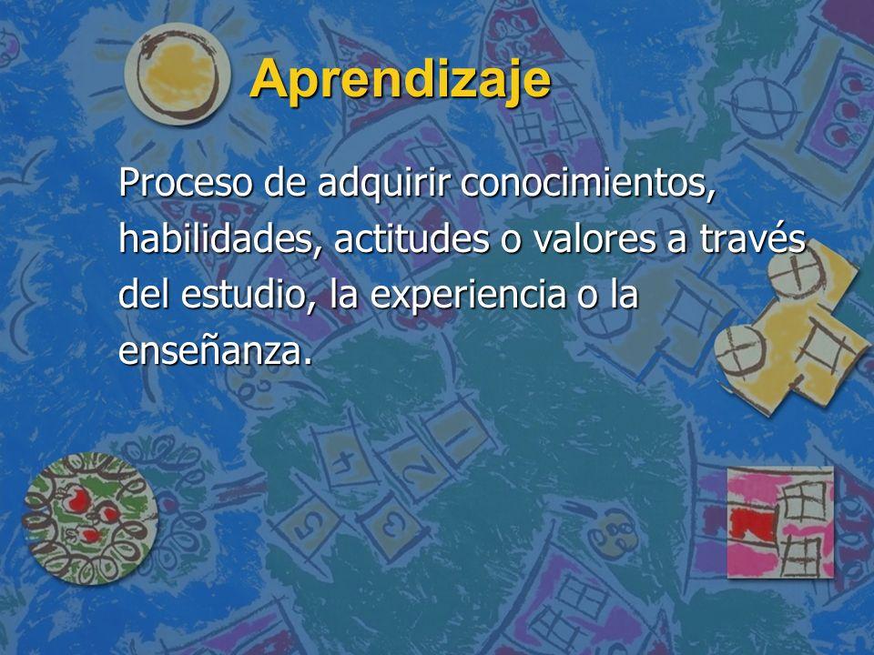 AprendizajeProceso de adquirir conocimientos, habilidades, actitudes o valores a través del estudio, la experiencia o la enseñanza.