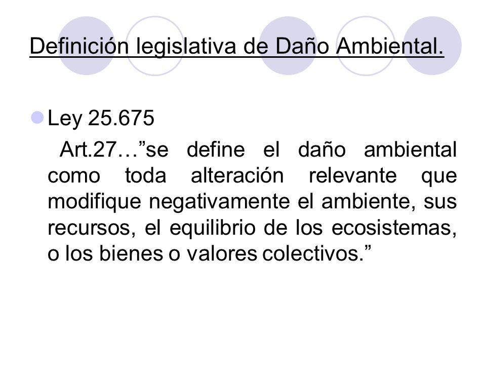 Definición legislativa de Daño Ambiental.