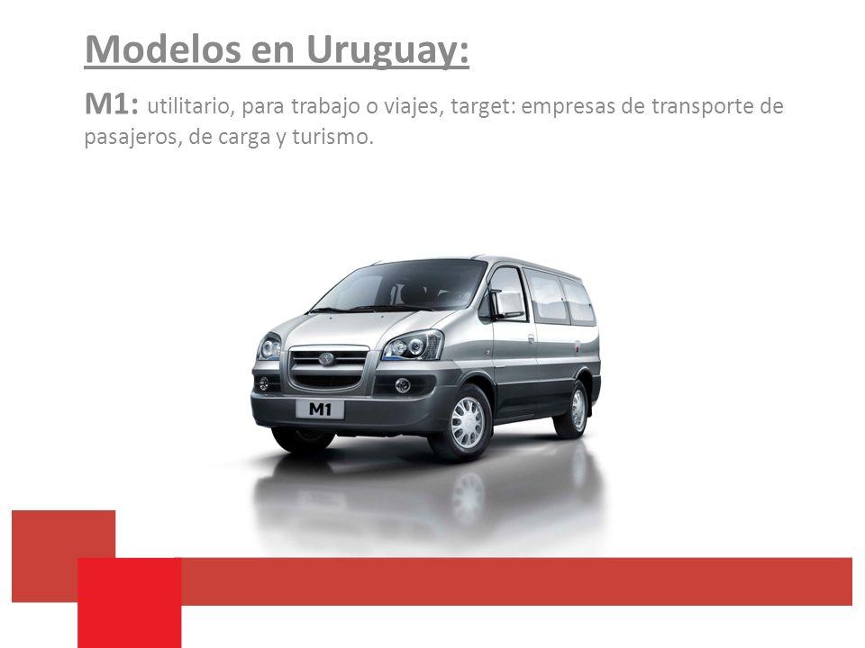 Modelos en Uruguay: M1: utilitario, para trabajo o viajes, target: empresas de transporte de pasajeros, de carga y turismo.