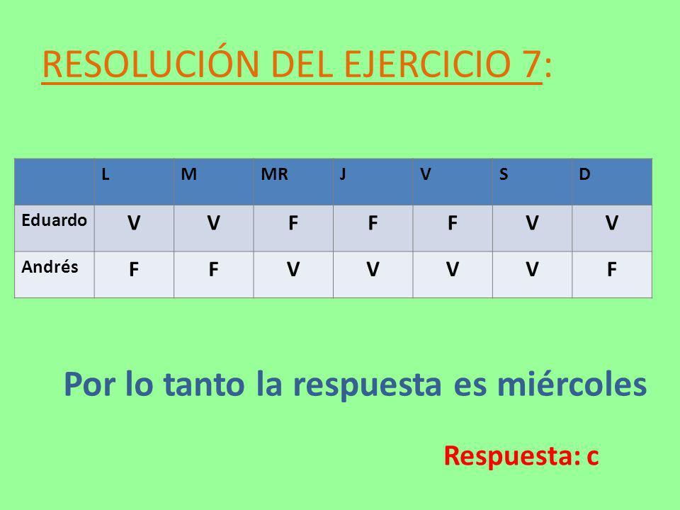 RESOLUCIÓN DEL EJERCICIO 7: