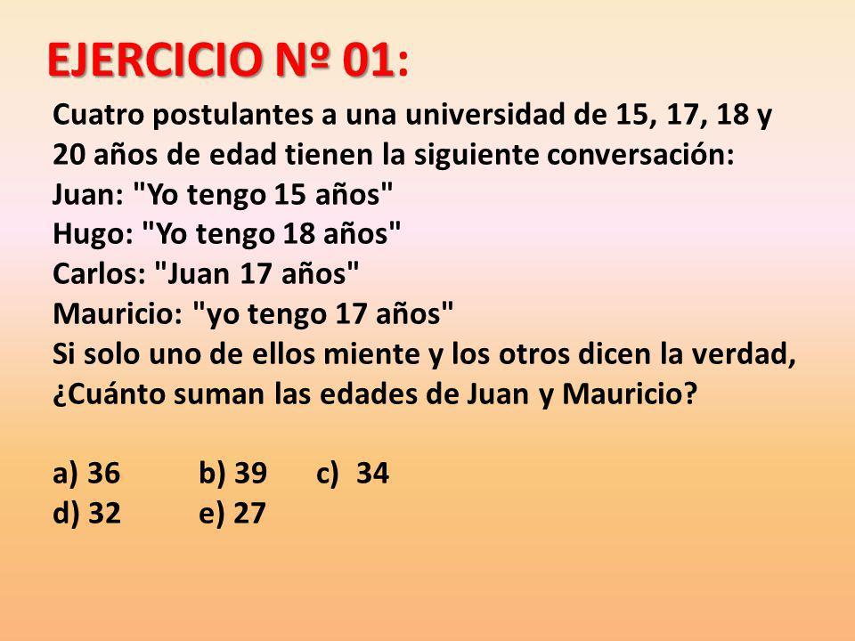 EJERCICIO Nº 01: Cuatro postulantes a una universidad de 15, 17, 18 y 20 años de edad tienen la siguiente conversación:
