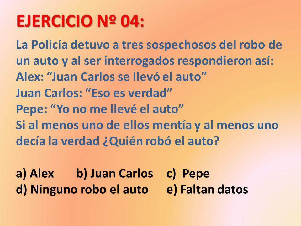 EJERCICIO Nº 04: La Policía detuvo a tres sospechosos del robo de un auto y al ser interrogados respondieron así: