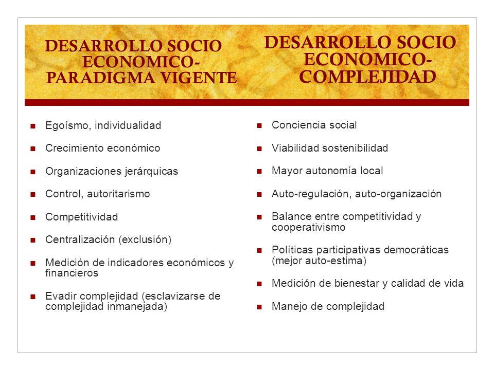 DESARROLLO SOCIO ECONOMICO- COMPLEJIDAD