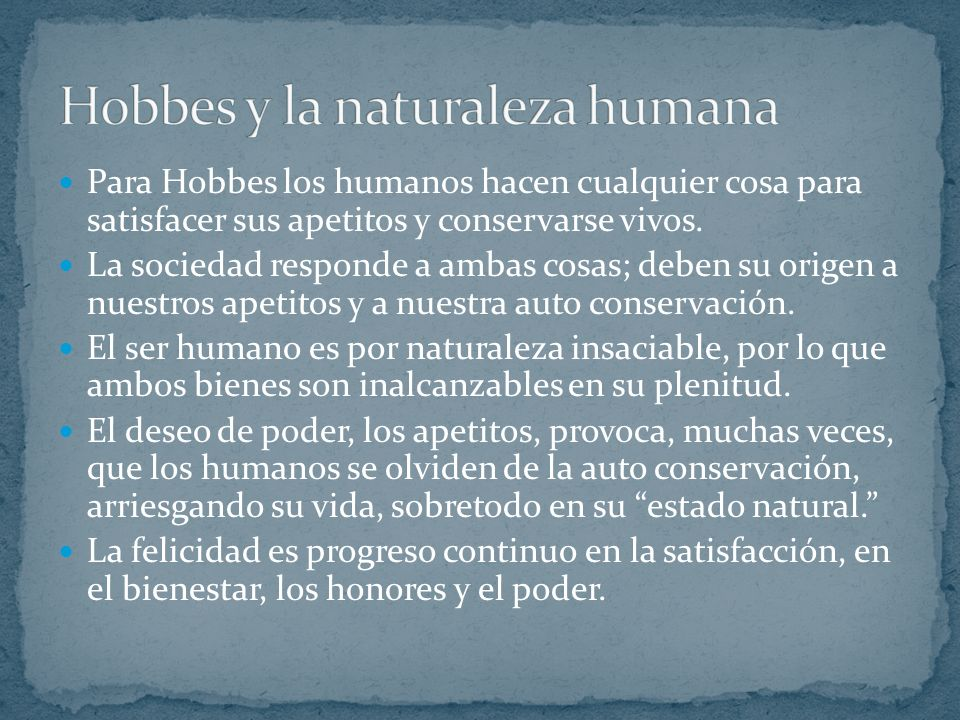 Hobbes y la naturaleza humana