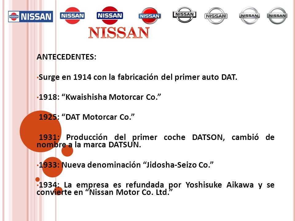 NISSANANTECEDENTES: Surge en 1914 con la fabricación del primer auto DAT. 1918: Kwaishisha Motorcar Co.