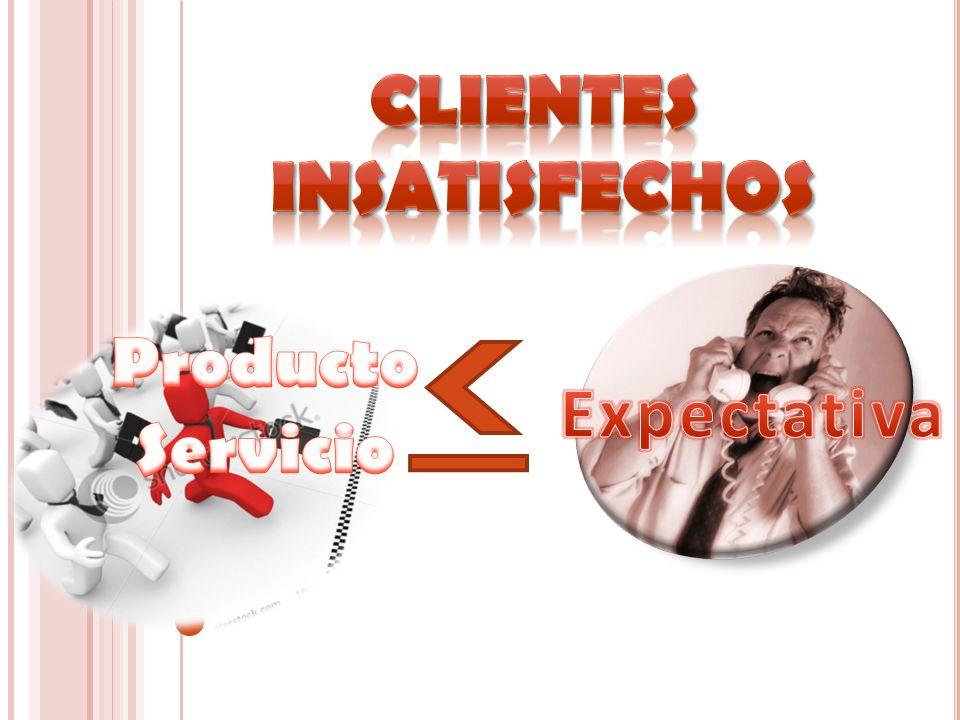Clientes insatisfechos Producto Servicio Expectativa