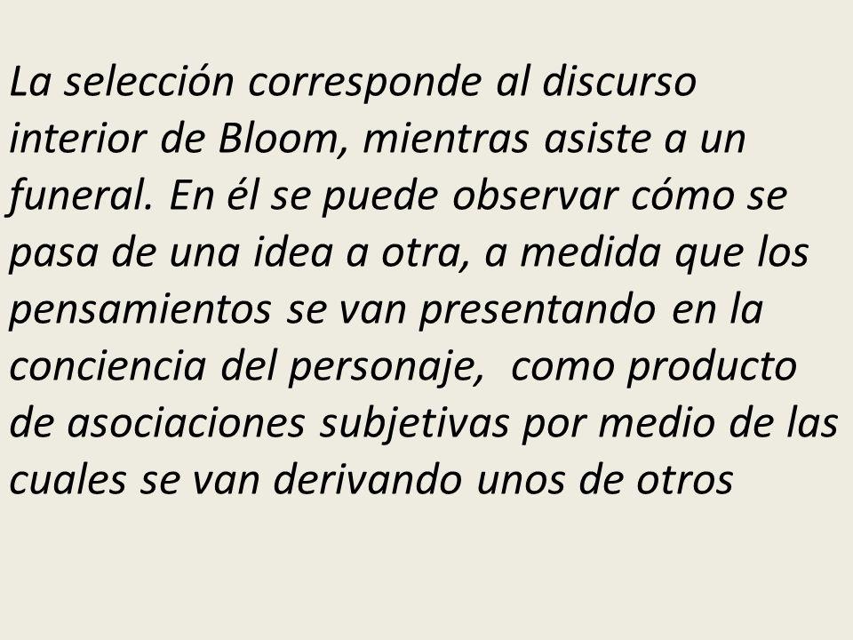 La selección corresponde al discurso interior de Bloom, mientras asiste a un funeral.