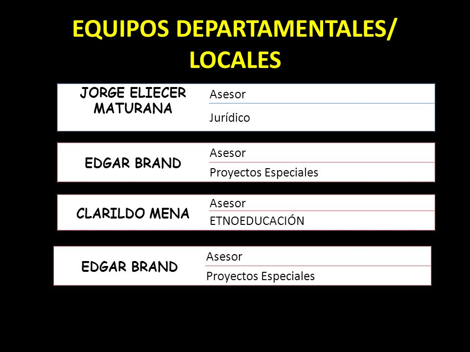 EQUIPOS DEPARTAMENTALES/ LOCALES