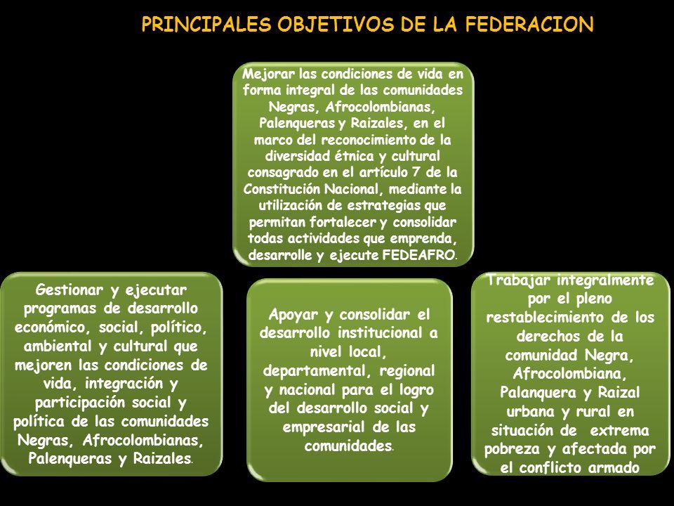 PRINCIPALES OBJETIVOS DE LA FEDERACION