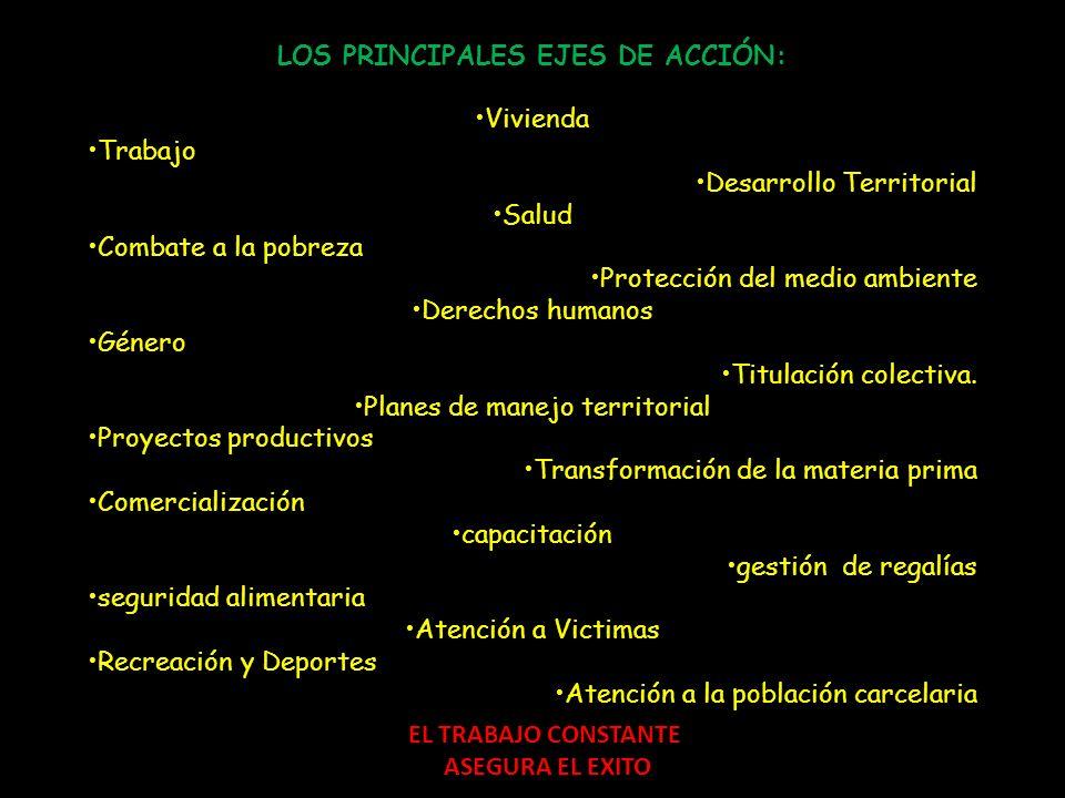 LOS PRINCIPALES EJES DE ACCIÓN: