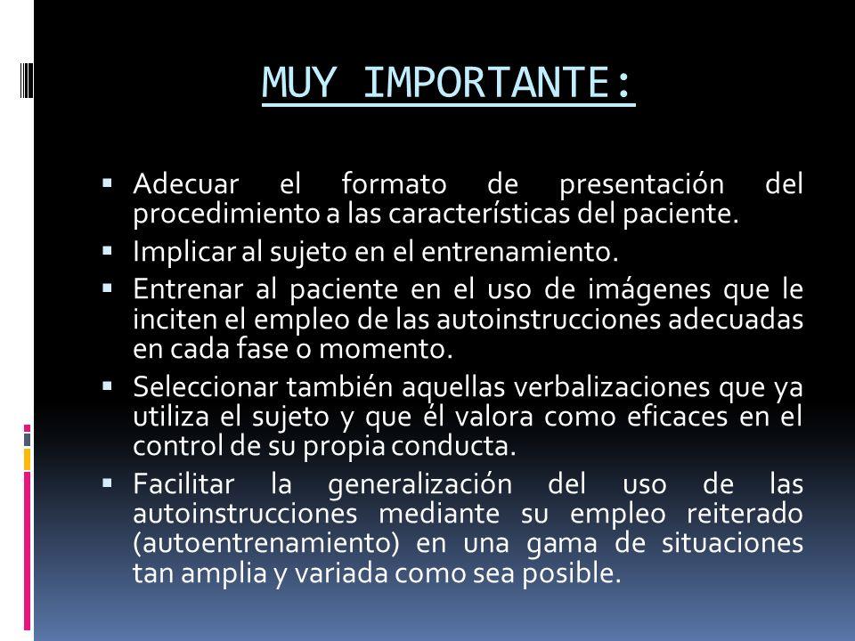 MUY IMPORTANTE: Adecuar el formato de presentación del procedimiento a las características del paciente.
