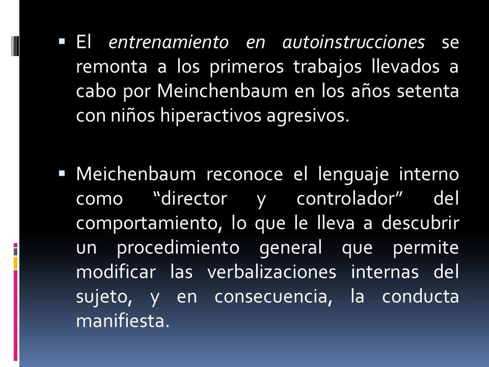 El entrenamiento en autoinstrucciones se remonta a los primeros trabajos llevados a cabo por Meinchenbaum en los años setenta con niños hiperactivos agresivos.