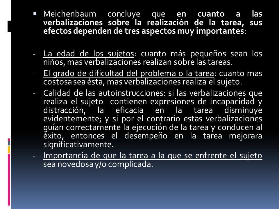Meichenbaum concluye que en cuanto a las verbalizaciones sobre la realización de la tarea, sus efectos dependen de tres aspectos muy importantes:
