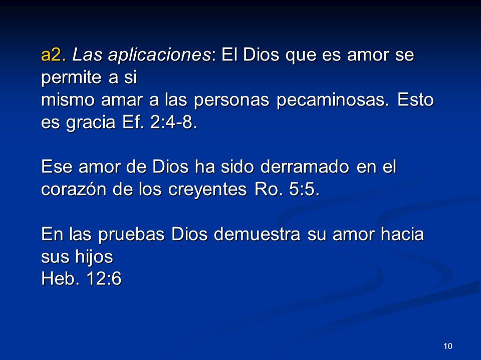a2. Las aplicaciones: El Dios que es amor se permite a si