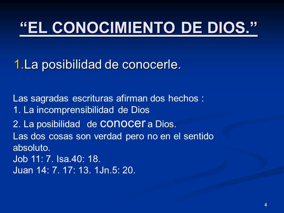 EL CONOCIMIENTO DE DIOS.