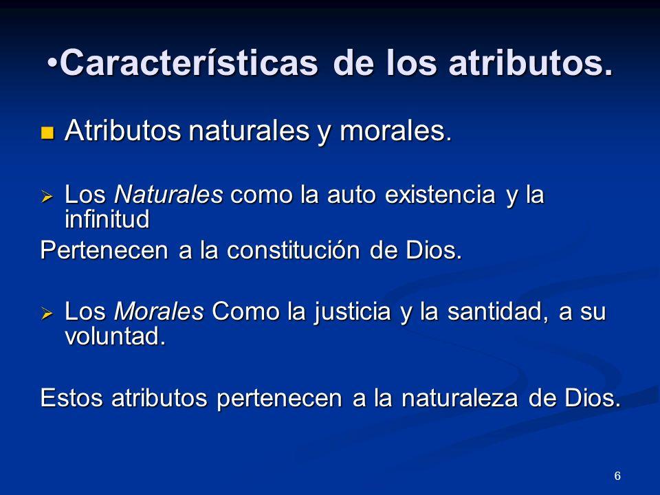 Características de los atributos.