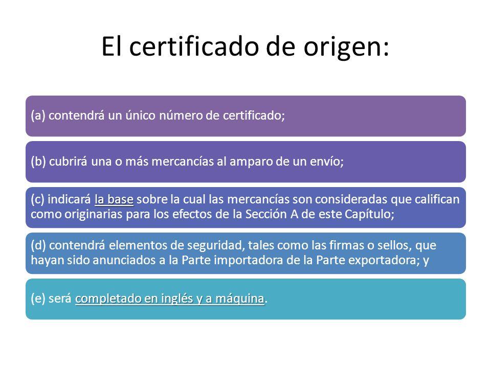 El certificado de origen: