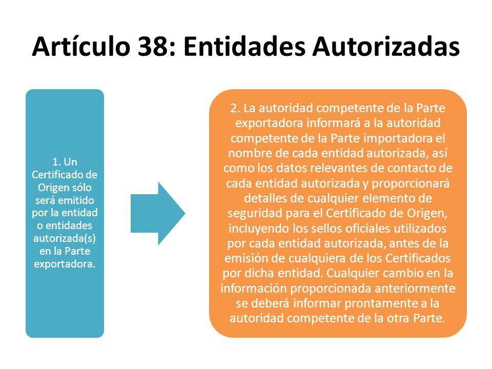 Artículo 38: Entidades Autorizadas
