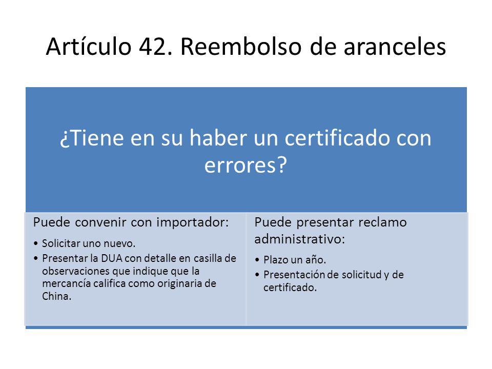 Artículo 42. Reembolso de aranceles