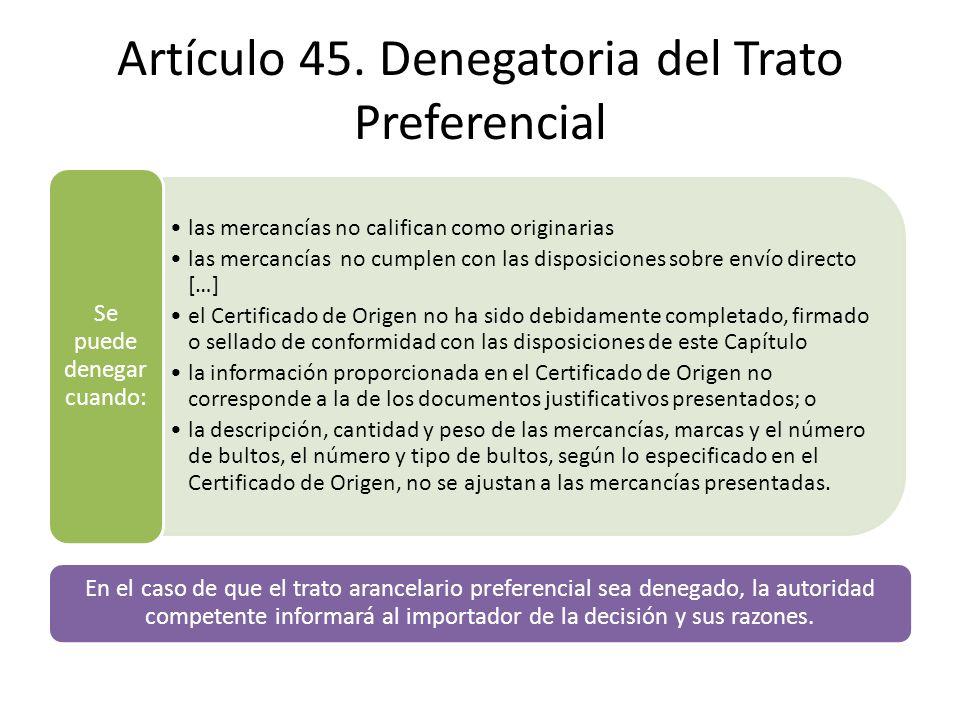 Artículo 45. Denegatoria del Trato Preferencial